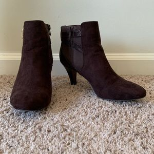 Karen Scott Brown Faux Suede Strappy Ankle Booties